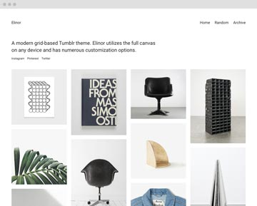 Screenshot of our grid-based Elinor Premium Tumblr theme